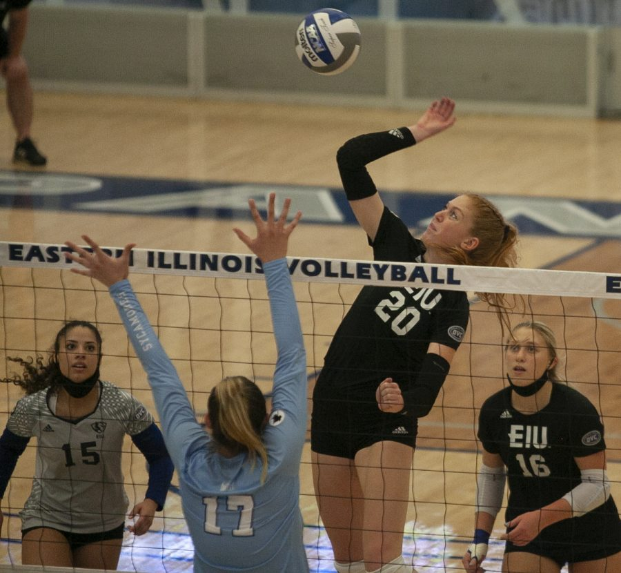 Eastern middle blocker Emily Wilcox jumps to attempt a kill in a match against Indiana State on Sept. 19 in Lantz Arena. Wilcox had 10 kills in the match, which Eastern lost 3-1.