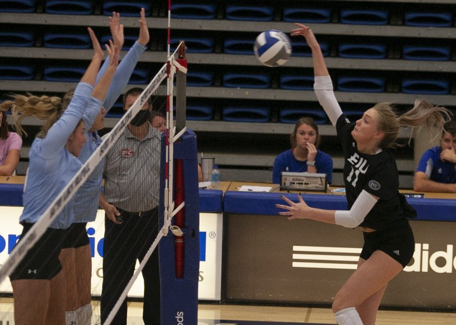Adam Tumino | The Daily Eastern NewsEastern outside hitter Kaitlyn Flynn follows through on a kill attempt in a match against Indiana State on Sept. 19 in Lantz Arena. Flynn had 10 kills in the match, which Eastern lost 3-1.