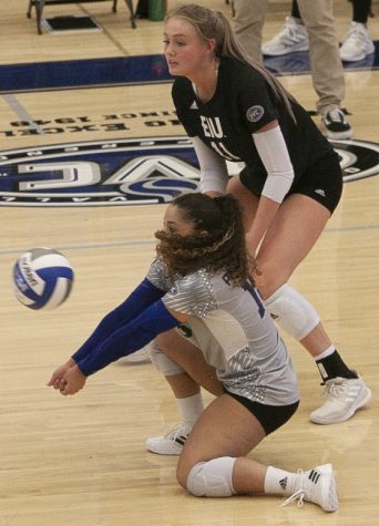 Eastern libero Lorraine Perez drops to a knee to receive a serve in a match against Indiana State on Sunday in Lantz Arena. Perez had 19 digs and 2 service aces in the match, which Eastern lost 3-1.