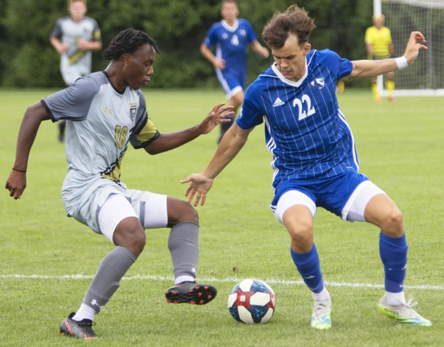 Eastern forward Lenni Kirschner fights for possession with an opponent in Easterns 1-0 loss to Purdue Fort Wayne on Sept. 3 at Lakeside Field.