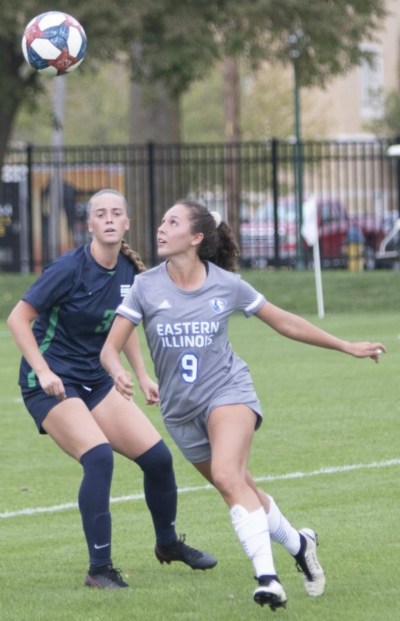 Eastern forward Serra Pizaro gets in position to field the ball in a match against Chicago State on Sept. 3 at Lakeside Field. Pizano had the lone goal in the match, which Eastern won 1-0.