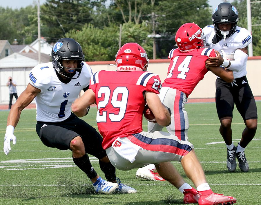 Eastern safety Jordan Vincent (1) prepares to make attempt a tackle on a Dayton ball carrier in Easterns 17-10 loss on Sept. 11.