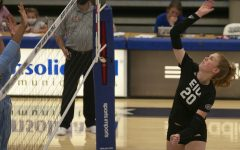 Eastern middle blocker Emily Wilcox swings on a kills attempt in a match against Indiana State on Sept. 19 in Lantz Arena. Wilcox had 10 kills in the match, which Eastern lost 3-1.