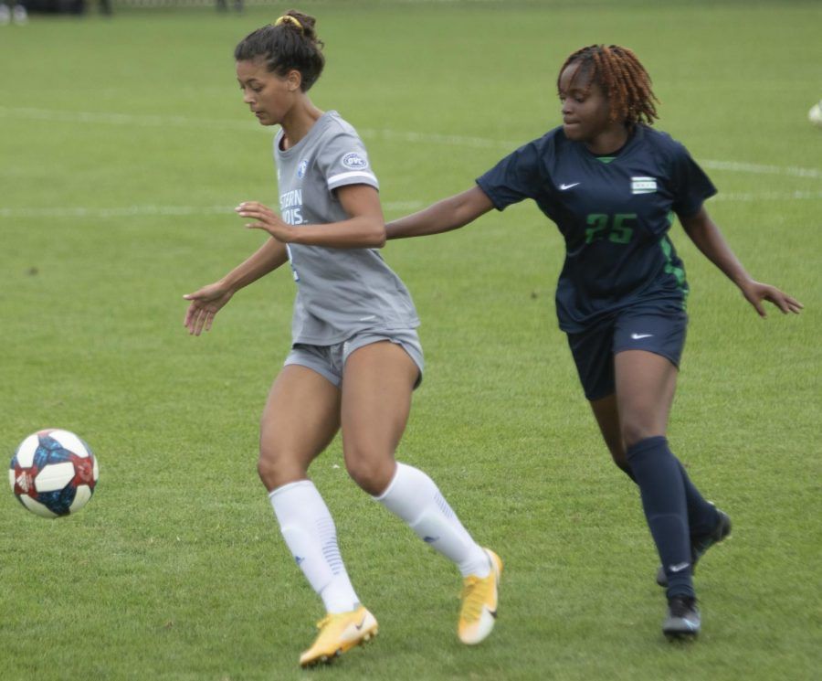 Eastern forward Michaela Danyo takes possession of the ball against Chicago State on Sept. 3 at Lakeside Field. Danyp had 2 shots and an assist in the match, which Eastern won 1-0.