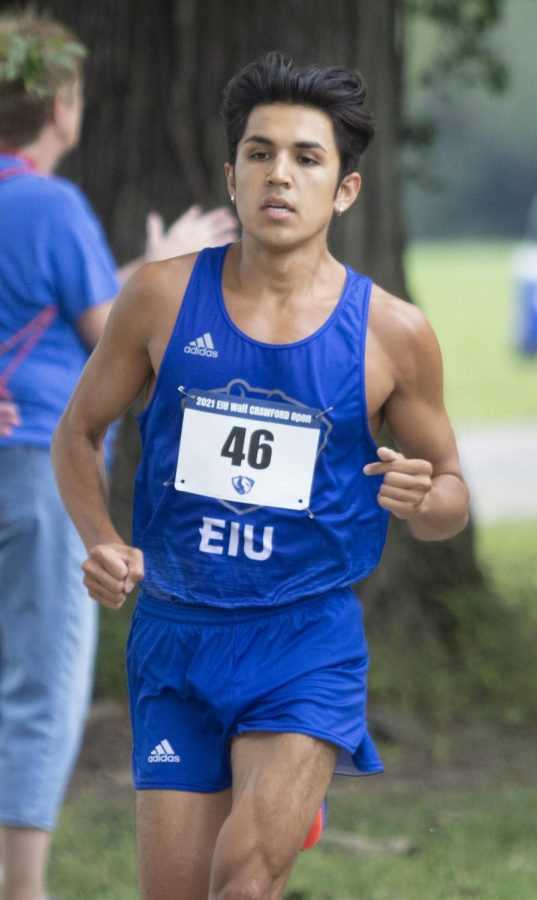 Easterns+Jaime+Marcos+competes+in+the+8K+race+at+the+EIU+Walt+Crawford+Open+on+Sept.+3+at+the+Tom+Woodall+Panther+Trail.+Marcos+placed+first+individually+and+the+Panthers+also+won+the+meet+as+a+team.+