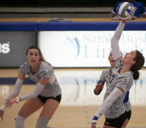 Eastern outside hitter Kylie Michael connects on a kill attempt in a match against Southern Illinois-Edwardsville on Oct. 5 in Lantz Arena. Michael had 7 kills in the match, which Eastern lost 3-1.