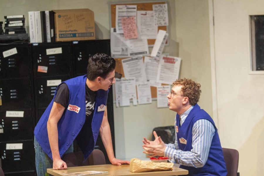 Aidan Collins, a junior theater major,  as Alex and Max Zumpano, a senior theater, as Will Cronin perform in Bright New Boise Friday night.