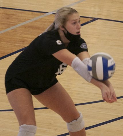 Eastern defensive specialist Ashley Sharkus receives a serve in a match against Southeast Missouri on Oct. 9 in Lantz Arena. Sharkus had 4 digs and a service ace in the match, which Eastern lost 3-0.
