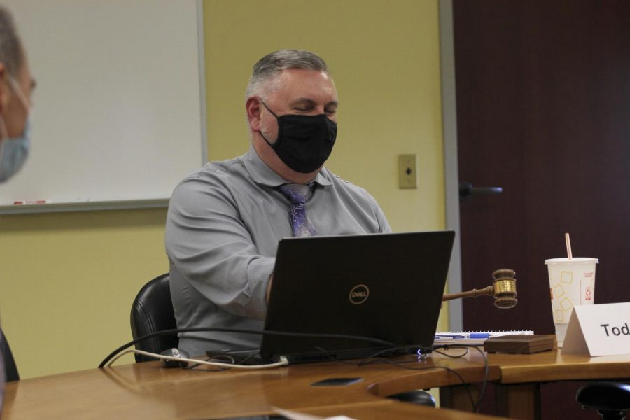 Faculty Senate Chair Todd Bruns ajourns the Faculty Senate meeting Tuesday afternoon.