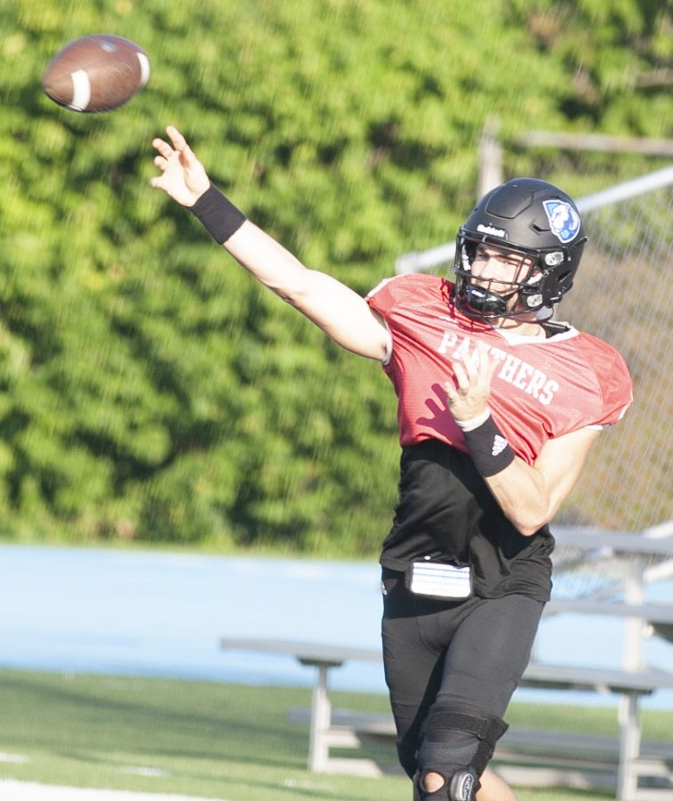 Eastern quarterback Otto Kuhns throws a pass during a drill in practice on Sept. 29 at OBrien Field. The Panthers will be hosting Tennessee-Martin on Saturday.