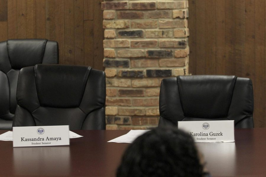 Two empty seats, unfilled by student senators, preventing Student Government from reaching quorum to conduct official business at the Student Government meeting Wednesday night.