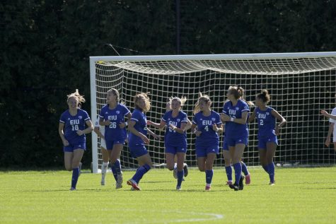 Members of the Eastern womens soccer team celebrate a goal from sophomore midfielder Cam Korhorn (24) in the match against Belmont at Lakeside Field Sunday. Korhorns goal was the only score of the game as the Panthers beat the Bruins 1-0.