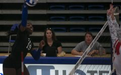 Eastern outside hitter Danielle Allen connects on a kill attempt in a match against Southeast Missouri on Oct. 9 in Lantz Arena. Allen had 5 kills in the match, which Eastern lost 3-0.