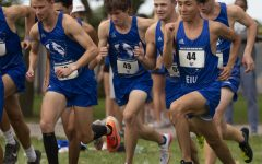 Members of the Eastern mens cross country team begins the 8K race in the EIU Walt Crawford Open on Sept. 3 at the Tom Woodall Panther Trail. Both the mens and womens teams won the meet.