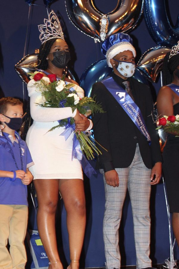 Homecoming King and Queen Jerimiah Boyd-Johnson, a senior political science major, and Jacqueline Williams, a senior kinesiology major are honored with the rest of the Homecoming Court. Homecoming Coronation held Monday night in the MLK Union Grand Ballroom. Williams said when it was announced that she won, she couldn't believe she had won and that she stood there shocked for a moment.