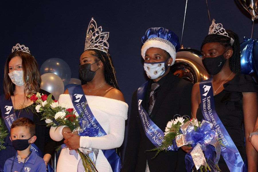 Homecoming Queen Jacqueline Williams, a senior kinesiology major,  is honored by the crowd at Homecoming Coronation. Coronation was held Monday night in the MLK Union Grand Ballroom. Williams said when it was announced that she won, she couldn't believe she had won and that she stood there shocked for a moment.