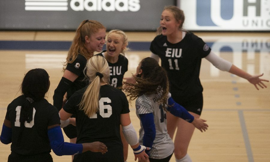 The Eastern volleyball team celebrate a kill from Emily Wilcox (left) in a match against Indiana State on Sept. 19 in Lantz Arena. The Panthers lost the match 3-1.