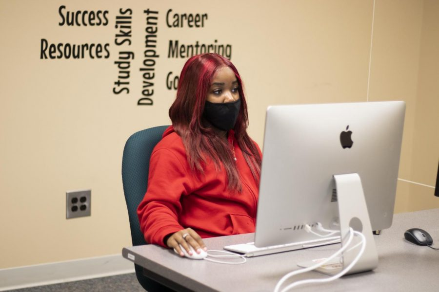 Jada Laws, a junior economics major, does work in the TRIO Student Support office.
