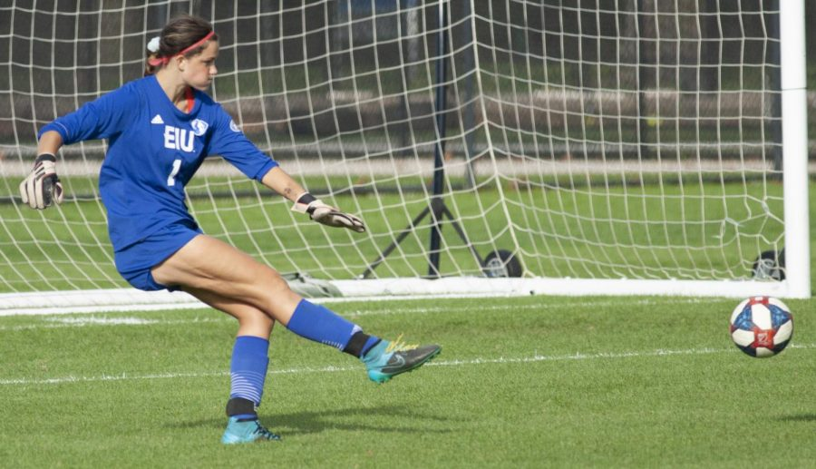 Eastern goalkeeper Faith Davies kicks the ball to her left in a match against Southern Illinois-Edwardsville on Oct. 19 at Lakeside Field. Davies had 4 saves in the match, which Eastern lost 2-0.