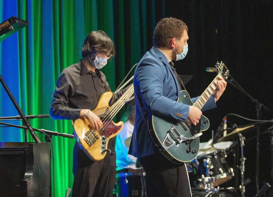 Guitar player Jacob Ramage, a sophomore music performance major, and bass player Ian Palacios, a junior English and philosophy major play in the Gonçalves Quartet at Jazz Combos performance Thursday, Oct. 21, in the Doudna Fine Arts Center Black Box Theatre.